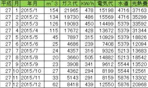 2015年の光熱費