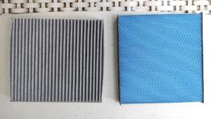 BLITZハイブリッドエアコンフィルターと活性炭入りエアコンフィルターの比較